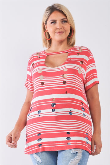 Plus Striped And Distressed Cut-out Top
