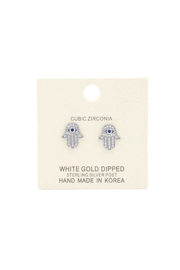 Hamsa Hand Cubic Zirconia Gold Dipped Earring