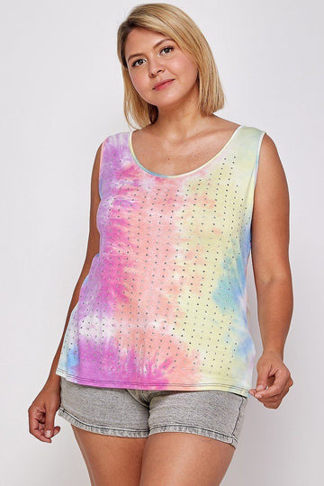 Tie Dye Tank With Studded Detail To