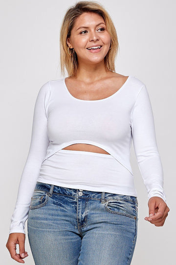Solid Round Neck Top, With Long Sleeves, And Cut-out Detail