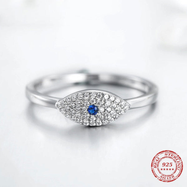Cubic Zirconia Blue Eye Lucky Finger Rings For Women  - KjSelections