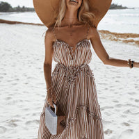 Elegant Stripe Summer Dress Women Spaghetti Strap Lace Midi dress  - KjSelections