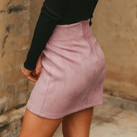 Asymmetrical sash bow suede skirts women High waist split skirts  - KjSelections