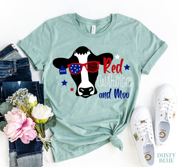 Red White Moo T-shirt  - KjSelections