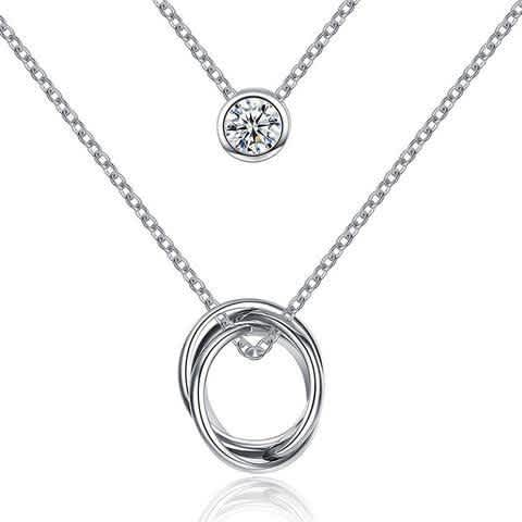 925 Sterling Silver Circles of Love with Cubic Zirconia Pendant Necklace by KJSelections