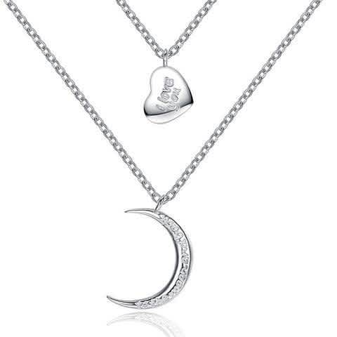 925 Sterling Silver I love you Pendant with Crescent Moon Pendant Necklace for Women