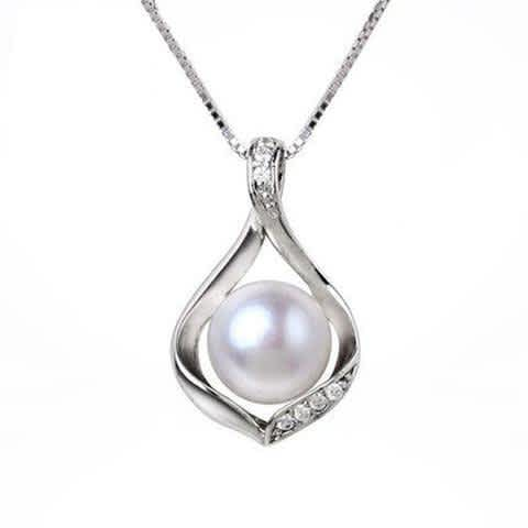 925 Sterling Silver Freshwater Pearl Necklace with Cubic Zirconia for Women by kjselections