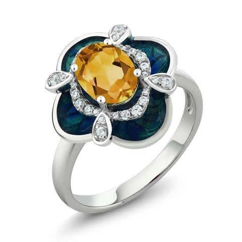 1.39 Ct Oval Yellow Citrine 925 Sterling Silver Enamel Flower Ring. Anniversary ring, Engagement Ring, Promise Ring, Statement Ring, Wedding Ring, Gift for her.