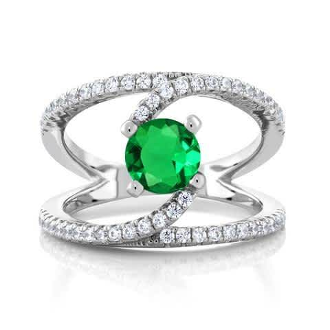 1.35 Ct Round Green Simulated Emerald 925 Sterling Silver Swirl Ring. Engagement Rings, Promise Rings, Anniversary Gifts for Women.