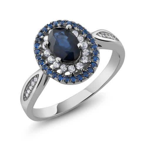 Genuine 925 Sterling Silver Fine Jewelry 1.60 Ct Oval Blue Natural Sapphire Vintage Rings For Women. Vintage Engagement Rings For Women. Fine Gemstone Jewelry for her. Wedding Ring, Engagement Ring, Anniversary Ring
