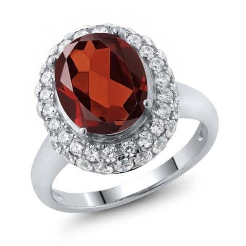 Genuine 4.5Ct Oval Natural Red Garnet 925 Sterling Silver Vintage Ring For Women Fine Jewelry. Vintage Engagement Rings For Women. Fine Gemstone Jewelry for her. Wedding Ring, Engagement Ring, Anniversary Ring