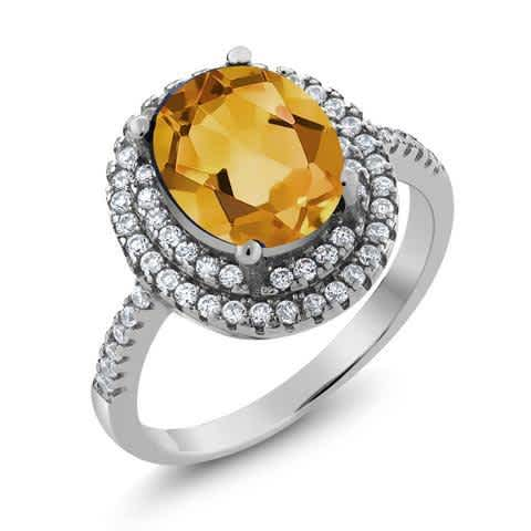 Solid 925 Sterling Silver Real Genuine 3.30 Ct Oval Yellow Citrine Big Gemstone Ring for Women. Fine Gemstone Jewelry for her. Wedding Ring, Engagement Ring, Anniversary Ring