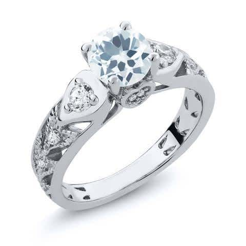 Real Solid 925 Sterling Silver Vintage Ring Round Cut Natural Sky Blue Aquamarine Women's Ring. Fine Vintage Style Jewelry for Women. Four Prong Setting Ring.