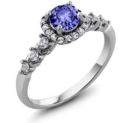 Real Genuine 925 Sterling Silver 0.88 Ct Round Natural Blue Tanzanite White Topaz Engagement Ring for Women. Fine Vintage Style Jewelry for Women. Four Prong Setting Ring.