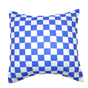 Cotton 1 Inch Checkerboard Print Decorative Throw Pillow/Sham Cushion Cover Blue & White