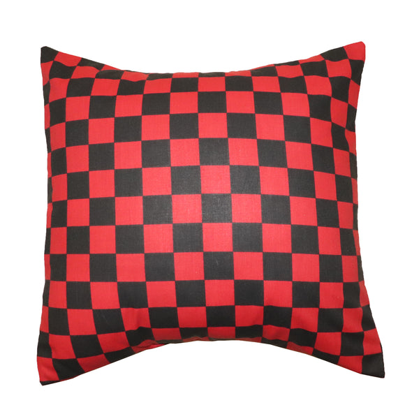 Cotton 1 Inch Checkerboard Print Decorative Throw Pillow/Sham Cushion Cover Red & Black