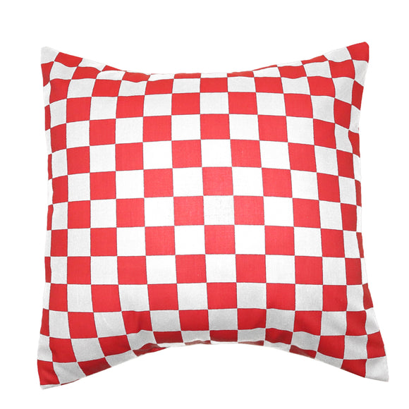 Cotton 1 Inch Checkerboard Print Decorative Throw Pillow/Sham Cushion Cover Red & White