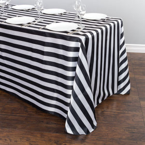 Satin Stripe Tablecloth 1 Inch Black and White