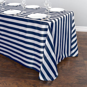 Satin Stripe Tablecloth 1 Inch Navy and White