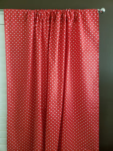 Cotton Polka Dots Window Curtain 58 Inch Wide Small Dots White on Red
