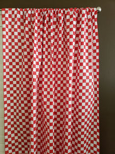 Cotton Curtain Checkered Print 58 Inch Wide Racecar 1 Inch Checkerboard Red and White