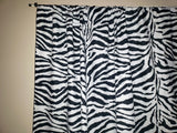 Cotton Zebra Print Window Curtain 58 Inch Wide Black