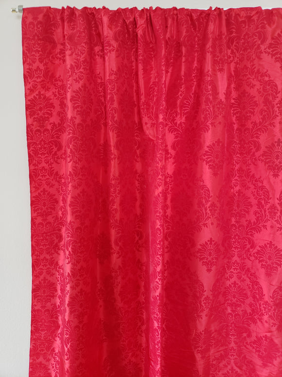 Flocking Damask Taffeta Window Curtain 56 Inch Wide Red on Red