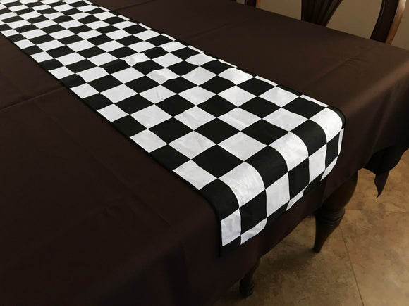 Cotton Print Table Runner Checkerboard NASCAR 2 Inch Black