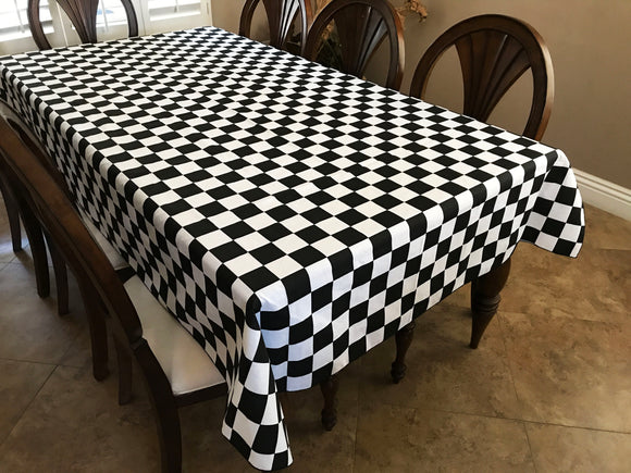 Cotton NASCAR Checkerboard Tablecloth 2 Inch Black and White