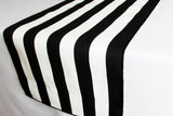 Stripes and Solid Table Linen Set for Formal or Causal Dining with 1 Solid Polyester Tablecloth with a Set of Napkins and Matching Table Runner