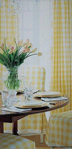 Poplin Gingham Checkered Window Curtain 56 Inch Wide Light Yellow