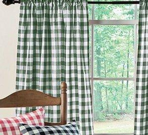 Poplin Gingham Checkered Window Curtain 56 Inch Wide Hunter Green