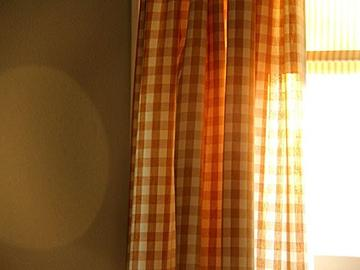 Poplin Gingham Checkered Window Curtain 56 Inch Wide Orange