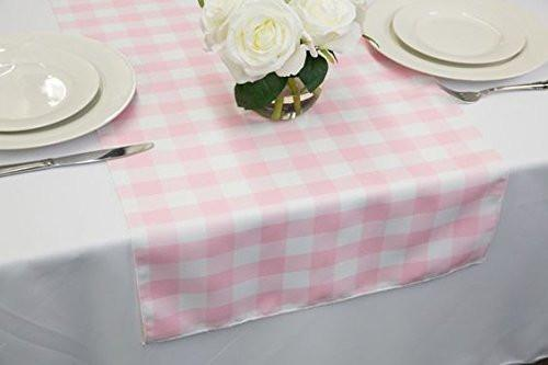 Poplin Table Runner Gingham Checkered Pink