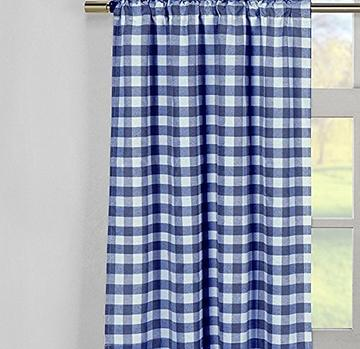 Poplin Gingham Checkered Window Curtain 56 Inch Wide Royal Blue