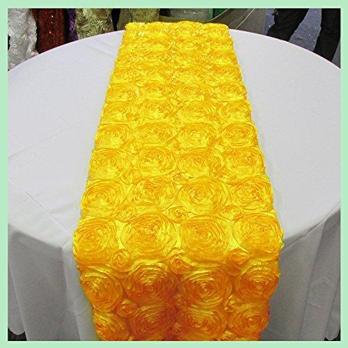 Satin Rosette Table Runner Raised Roses Yellow