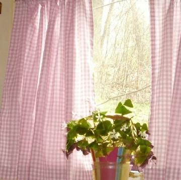 Poplin Gingham Checkered Window Curtain 56 Inch Wide Pink
