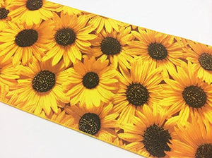 Cotton Print Table Runner Floral Sunflowers Allover