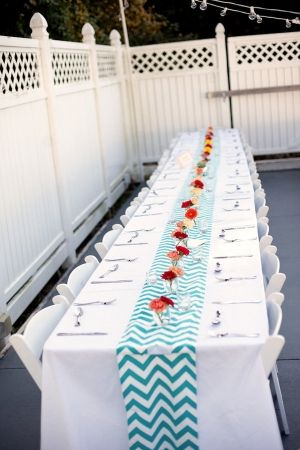 Cotton Print Table Runner Chevron Turquoise