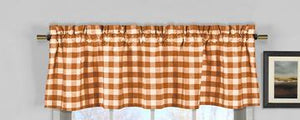 "Cotton Gingham Checkered Window Valance 58"" Wide Orange"