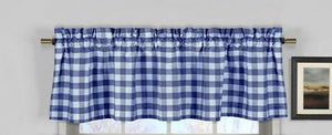 "Cotton Gingham Checkered Window Valance 58"" Wide Royal Blue"