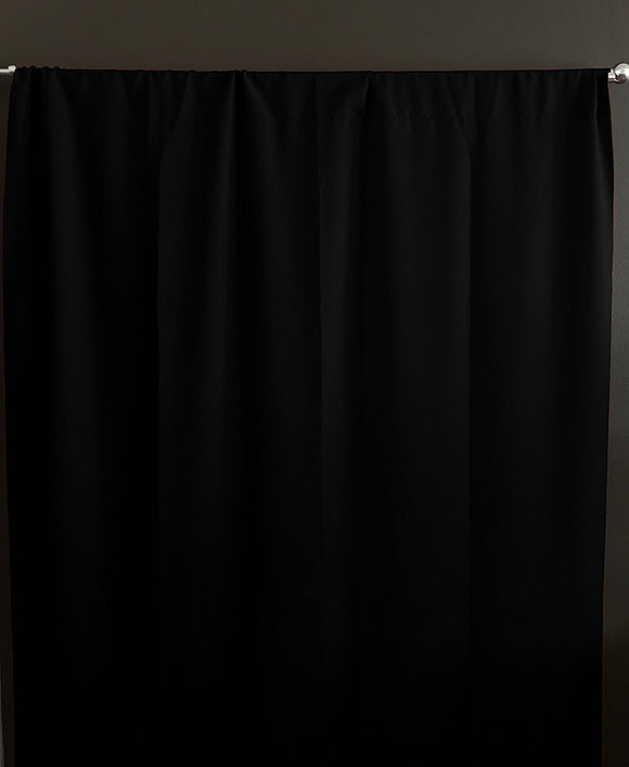 Solid Poplin Window Curtain or Photography Backdrop Black