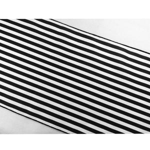 Cotton Print Table Runner Half Inch Wide Stripes Black and White