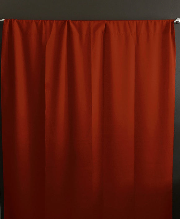 Solid Poplin Window Curtain or Photography Backdrop Burnt Orange