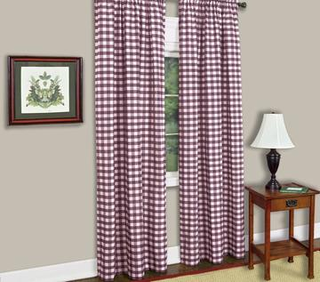 Poplin Gingham Checkered Window Curtain 56 Inch Wide Purple
