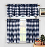 lovemyfabric Gingham Checkered Plaid Design 3-Piece Kitchen Curtain Valance Window Treatment Set - Love My Fabric