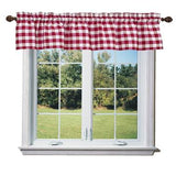 "Cotton Gingham Checkered Window Valance 58"" Wide Red"