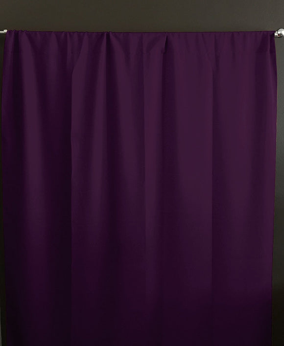 Solid Poplin Window Curtain or Photography Backdrop Eggplant