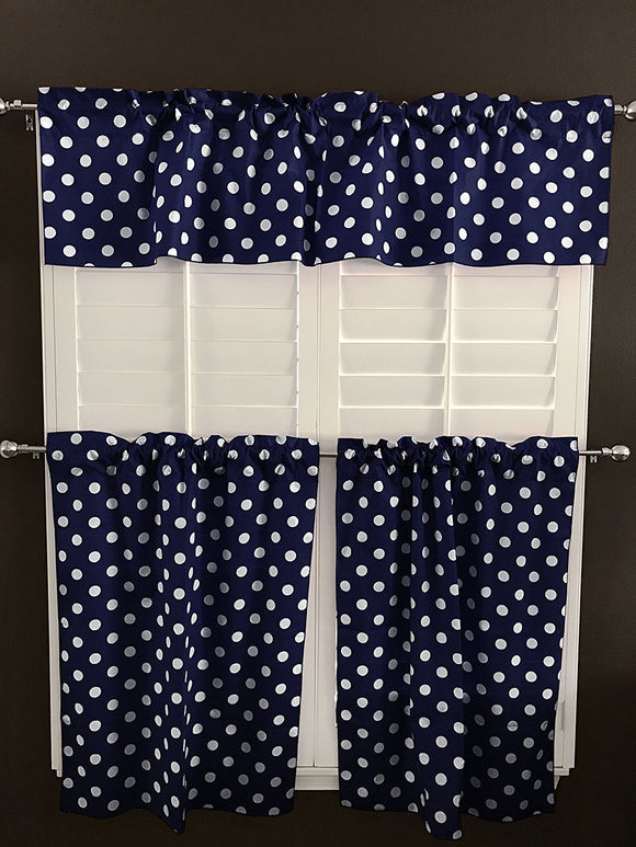Cotton Polka Dots 3 Piece Window Valance Set (19 Colors)
