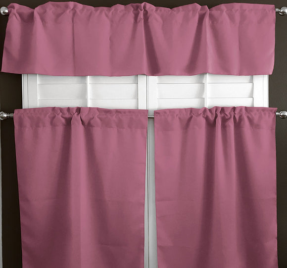 Poplin Solid 3 Piece Window Valance Set (30 different colors)